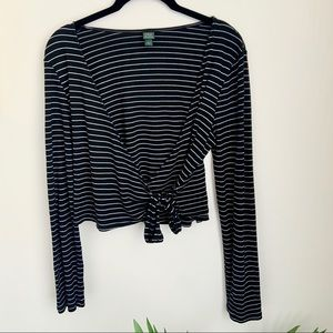 WILD FABLE Striped Wrap Crop Top-Black-L